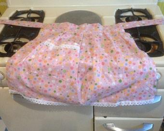Pink Retro Pinny / Apron  Polka Dot Fabric