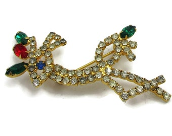 Reindeer Red Green Rhinestone Gold Tone Christmas Pin Brooch Outline Vintage Costume Jewelry Holiday Gift Ideas Shawl Scarf