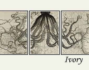 Octopus art print, Octopus decor, octopus tentacle art, bathroom wall art, bathroom decor, nautical wall art, set of 3 prints
