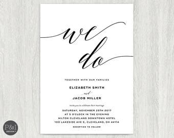 We Do Wedding Invitations | Wedding Suite | Black, White Script Elegant Wedding Set | 5x7