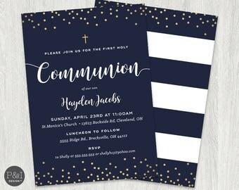 First Communion Invitation | Boy or Girl Communion Invitations | DIY | Printable 5x7