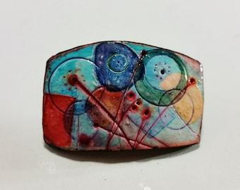 Polymer clay, convertible pin/pendant, unique, handmade, original design