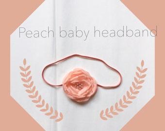 Peach headband. Baby peach headband. Chiffon flower headband. Peach accessory. Burnt edge flower. Baby head wear.