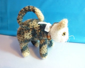 """Multicolored crochet toy mini kitty cat 4 1/2"""" tall - free shipping"""