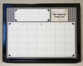 black white herringbone dry erase calendar large framed whiteboard calendar family command center custom white board wall calendar