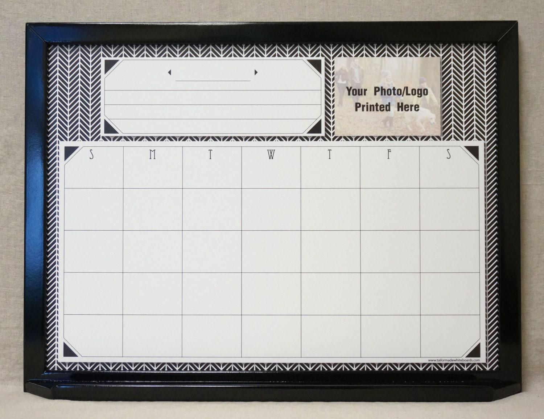 Black & White Herringbone Dry Erase Calendar Large Framed