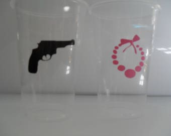 24 -16 oz Pistols and Pearls Gender Reveal Baby Shower Cups/ Gender Reveal Party Cups / Baby Shower Cups / Baby Gender Reveal Party Cups