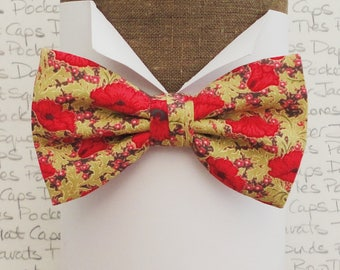 Bow tie, Floral bow tie, Bow ties for men, Red poppies on a pale moss green background, available in self tie or pre tied