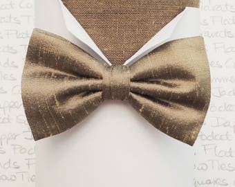 Silk dupion bow tie, bow ties for men, pewter/antique gold silk bow tie
