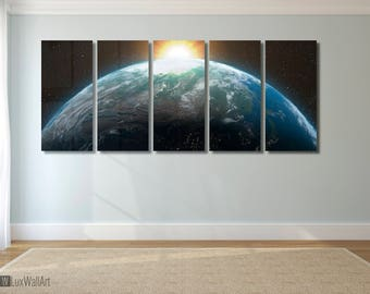 Planet Earth Wall Art Metal Print Decor Ready to Hang