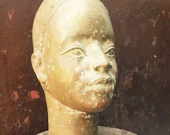 Benin bronze head statue