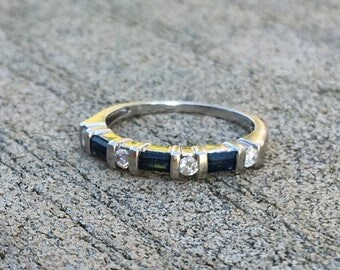 Diamond and Sapphire White Gold Band / size 6