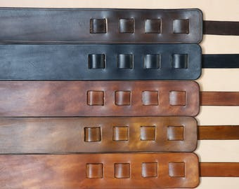Handmade Leather guitar strap, Italian veg tanned leather, choice of colours, can be personalised