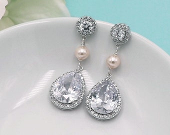 Wedding Earrings Pearl, Pearl Cubic Zirconia earrings, wedding jewelry, bridal jewelry, wedding earrings, Lily Pearl Earrings
