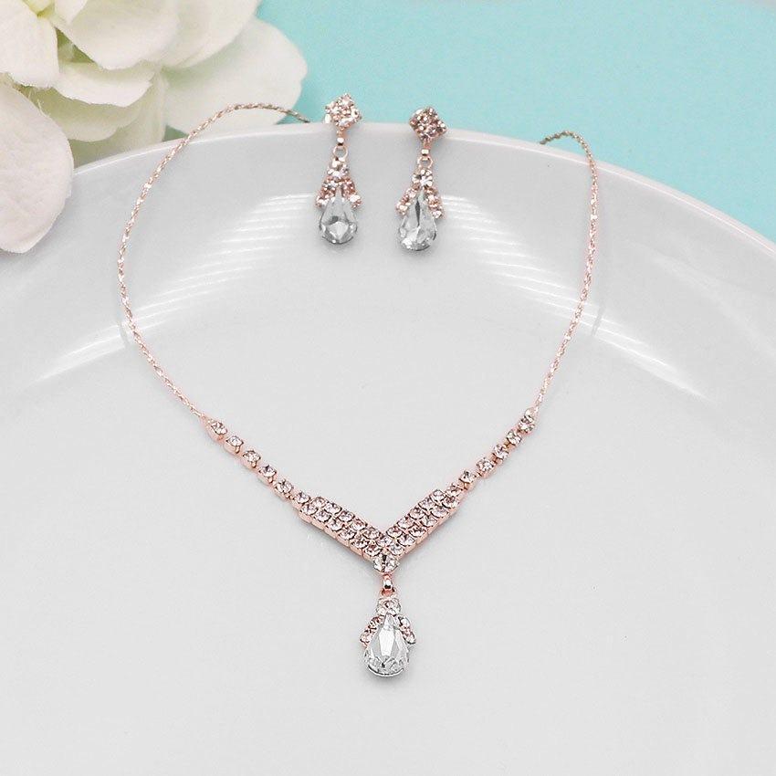 Rose Gold Rhinestone Jewelry Set Crystal Wedding Necklace Set
