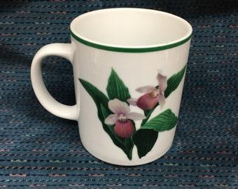 National Wildlife Federation Trillium Mug, Trillium Designed Mug, NWF Trillium Mug, Wildflower Mug, Pink Trillium Mug, Coffee Mug