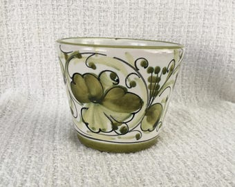 Green Floral  Pottery Ceramic Planter Pot, Hand Painted Planter, Made in Italy, Green Floral Planter, Green Floral Pot