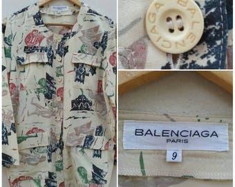 Vintage Balenciaga Silk Print Jacket / Top Size 9