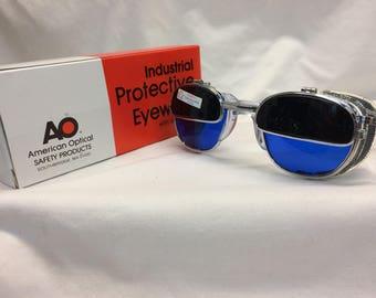 True Vintage AO Metal eyeglasses New Old Stock Safety Welding Glasses /Flip Up Lens /Box Cable Temples Custom Blue