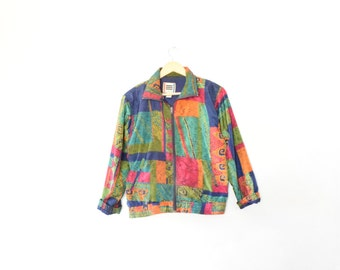LIGHTWEIGHT ABSTRACT JACKET // size womens large // 90s // windbreaker // athletic // sporty // bomber // baggy // colorful // vtg vintage