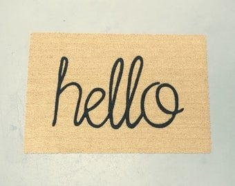 Hello - handwritten doormat (size opts)