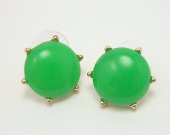 Vintage 60s GREEN Lucite Pierced Earrings