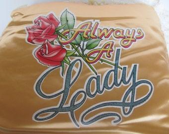 Silk Souvenir Throw Pillow - Always A Lady - 12'' x 12'' vintage collectable