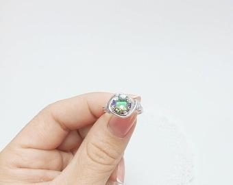 Swarovski crystal Ring, Wire Wrapped Ring, Crystal  Ring, Shine Ring, Wire Wrapped Jewelry Handmade, Iridescent Ring