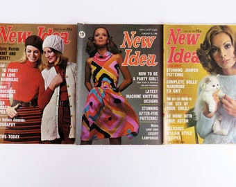 3 x vintage Australian 1960s New Idea women's magazines - 1969 & 1970 issues
