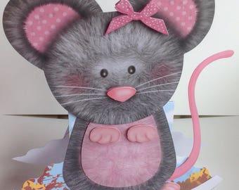 Cute Mouse Handmade Decoupaged Card