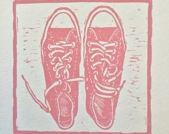 Chuck taylors converse , pink converse tennis shoes, converse art print, Meg Tannehill Justice