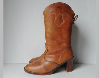70s Tan Leather Boots // Trotter // Size EU 40/41