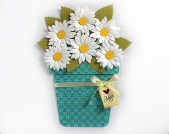 Mother's Day - Flower Pot Card - Love you Mom card - White Daisy Flower pot card, Mother- Love you card