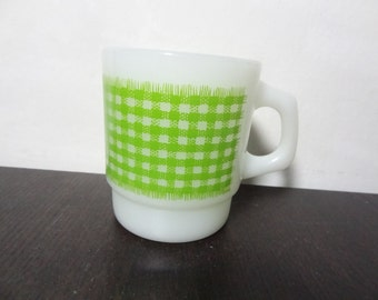 Vintage Retro Anchor Hocking Fire King Green Gingham Milk Glass Coffee Mug