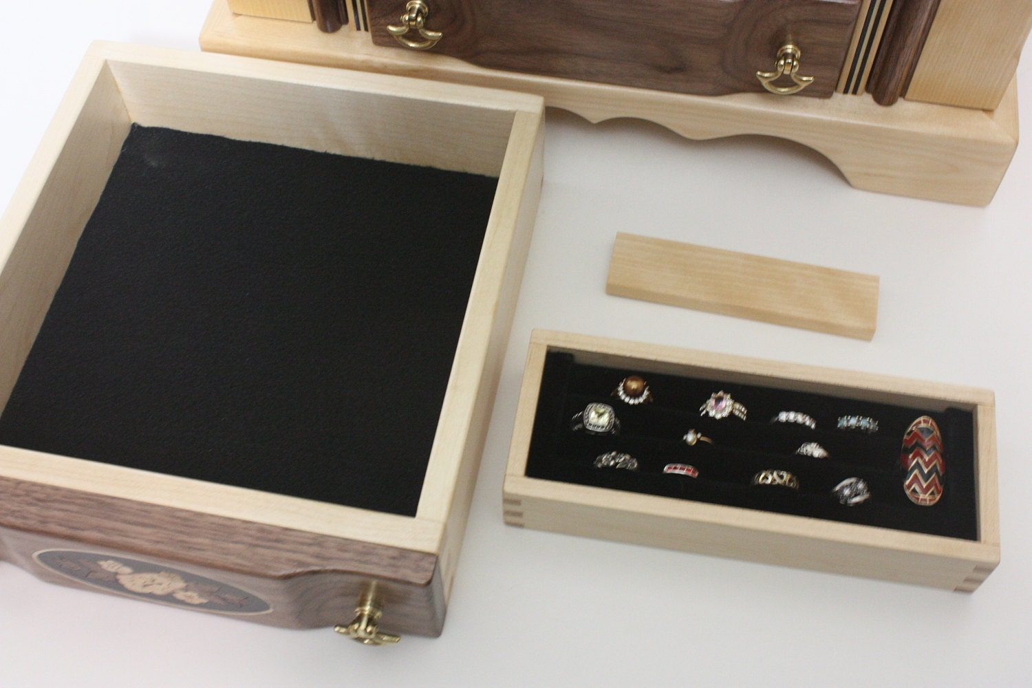 Walnut Jewelry Box with Removable Ring Box For Sale