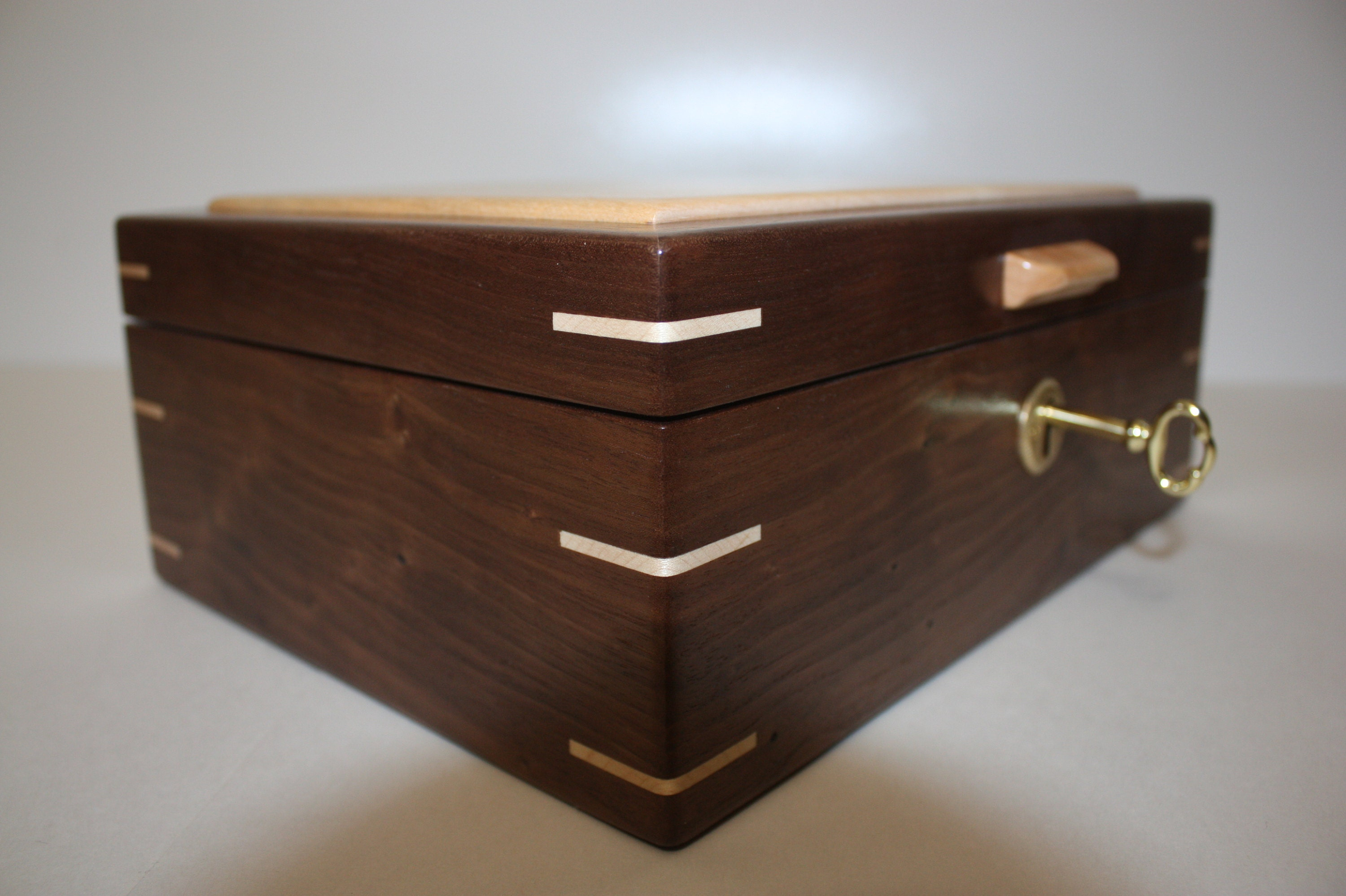 Handcrafted Locking Walnut Box For Sale
