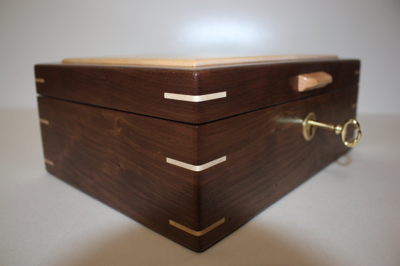 Handcrafted Locking Walnut Box For Sale