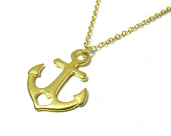 Gold Anchor Necklace -  Nautical Necklace - Anchor Necklace - Anchor Jewelry - Dainty nautical Necklace - beach necklace - bohemian necklace