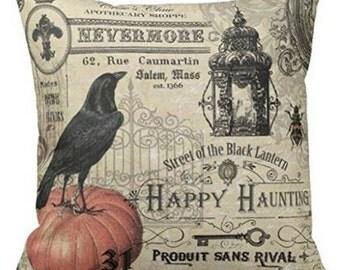 Black Crow Street of the Black Lantern, Halloween - Pillow Cover