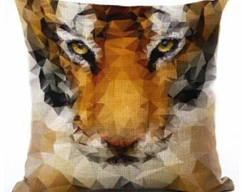 Tigress Big Cat, Geometric - Pillow Cover