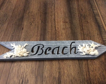 Beach Arrow Sign with Coral and Shells