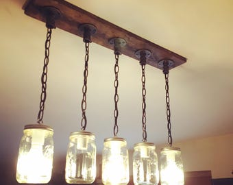 Rustic, Industrial, Farmhouse Style, Modern,Jar Chandelier Light, 4/5/6 Mason Jar Chandelier on Distressed Wood with Vintage Bulbs Optional