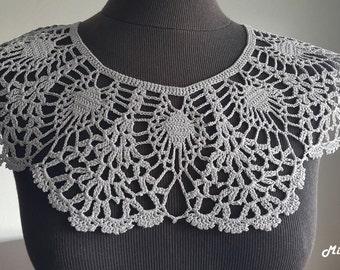 Handmade Crochet Collar, Neck Accessory, Light Grey,Sharkskin Colour, 100% Cotton