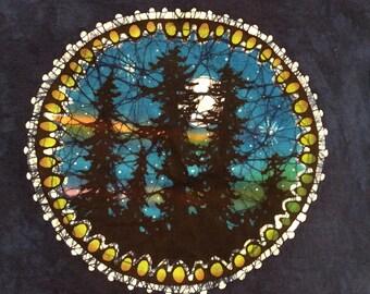 2X blue tree silhouette batik t shirt