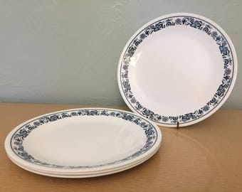 "Four+ Corelle Old Town Blue 10"" Dinner Plates"