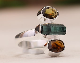 Designer Natural Petro Tourmaline Oval Cut & Neon Tourmaline Rough Gemstone 92.5 Sterling Silver Ring Size 5.50