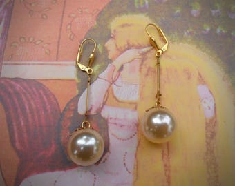 Large pearl earrings, pearl berry earrings, vintage pearl components, raw brass, gold and pearl, Victorian / vintage look, unique earrings