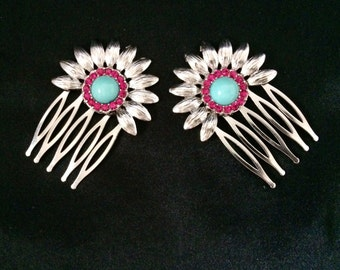 Set Of 2 Silver Metal Flower Like Hair Combs With Pink Crystals and Turquoise Center