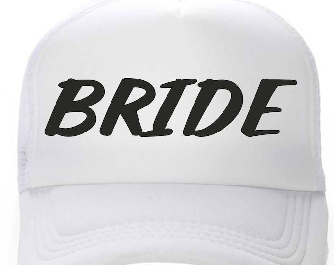 White Bride Hat - bachelorette hats - bachelorette party favors- Bridesmaid trucker hats - bachelorette party hats - snap back hat