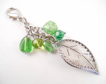 Leaf Key Chain - Green Beaded Leaf Charm Key Chain/Purse Charm